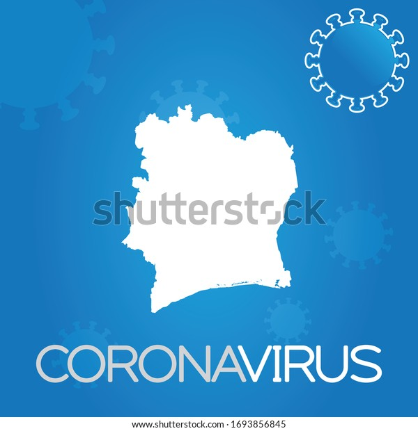 Illustrated Country Shape of Cote Divoire