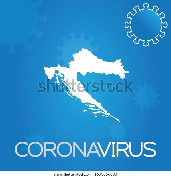 Illustrated Country Shape of Croatia