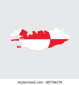 Illustrated Country Shape with the Flag inside of  Greenland