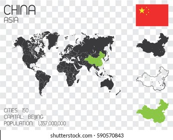 Illustrated Country Shape with the Flag inside of China