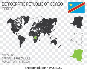 Illustrated Country Shape with the Flag inside of Democratic Republic of Congo