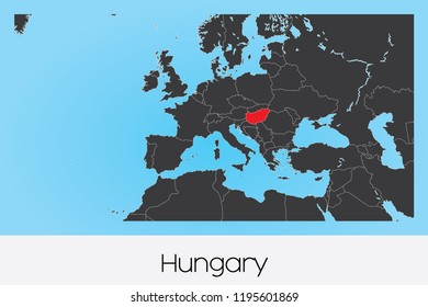 An Illustrated Country Shape of Hungary
