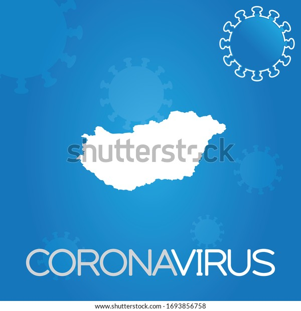 Illustrated Country Shape of Hungary