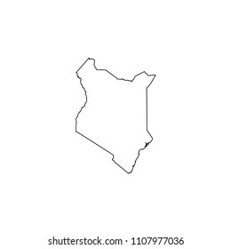 An Illustrated Country Shape of Kenya