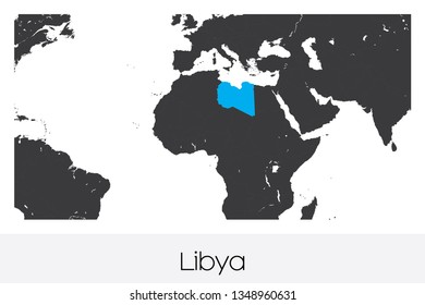 An Illustrated Country Shape of Libya
