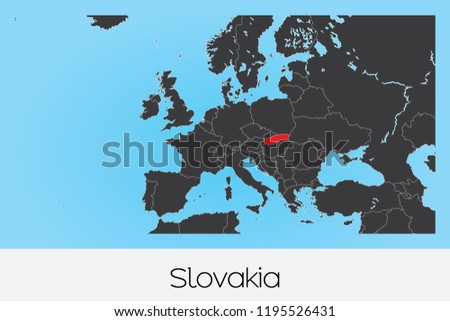 An Illustrated Country Shape of Slovakia