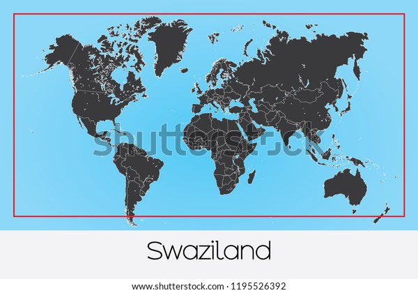 An Illustrated Country Shape of Swaziland