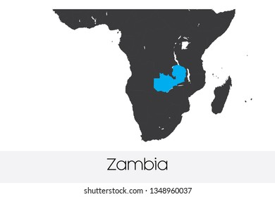 An Illustrated Country Shape of Zambia