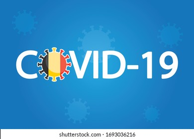 Illustrated Covid-19 Flag for the Country of  Belgium