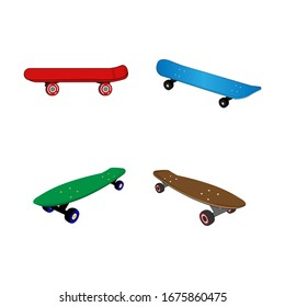 Illustrated design of various forms of skateboard
