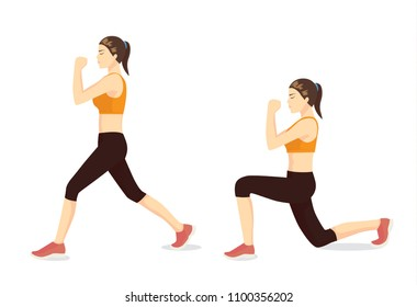 Illustrated exercise guide by healthy woman doing Lunges Workout in 2 steps for firming buttocks and legs.