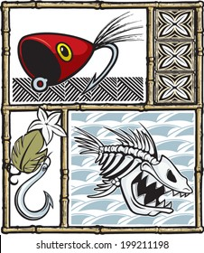 Illustrated fishing items with a Tiki theme. Layered vector file. / Tiki Fishing