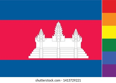 Illustrated Flag for the Country of  Cambodia