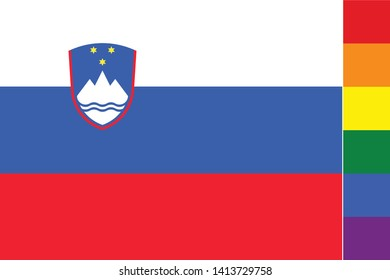 Illustrated Flag for the Country of  Slovenia