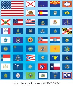 Illustrated Flags from the continent of the United States of America