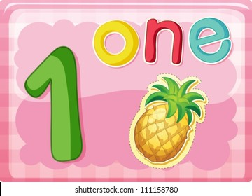 Illustrated flash card showing the number 1