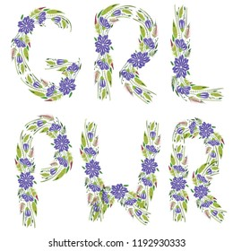 An illustrated girl power flower sign on a white background.
