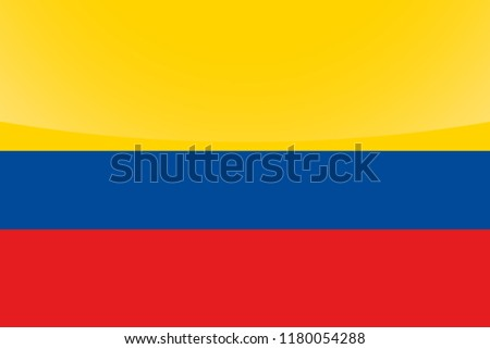 An Illustrated Glossy Country Flag of  Colombia