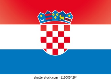 An Illustrated Glossy Country Flag of  Croatia