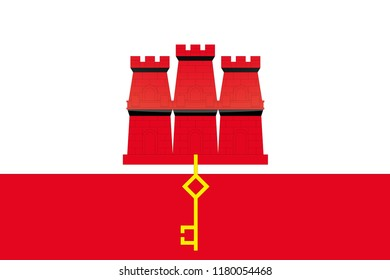 An Illustrated Glossy Country Flag of  Gibraltar