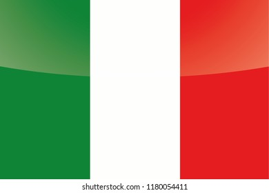 An Illustrated Glossy Country Flag of  Italy