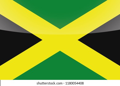 An Illustrated Glossy Country Flag of  Jamaica