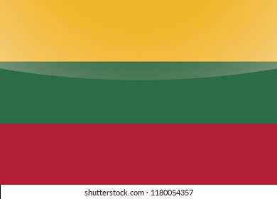 An Illustrated Glossy Country Flag of  Lithuania