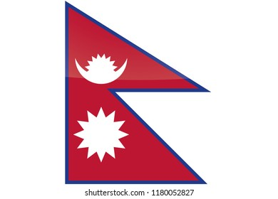 An Illustrated Glossy Country Flag of  Nepal