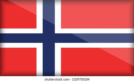 An Illustrated Glossy Country Flag of Norway. eps10