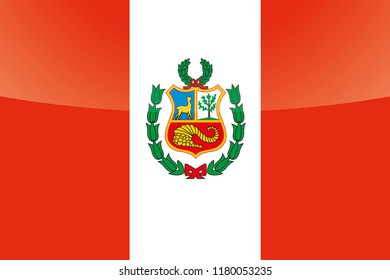 An Illustrated Glossy Country Flag of  Peru