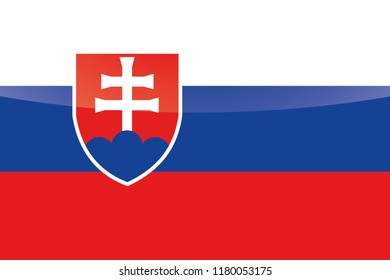 An Illustrated Glossy Country Flag of  Slovakia