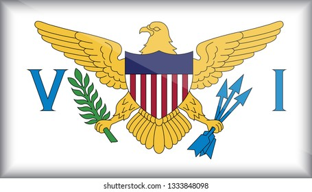 An Illustrated Glossy Country Flag of United States Virgin Islands. eps10