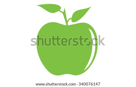 Illustrated Green Apple Symbol Two Green Stock Vector Royalty Free