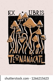 Illustrated greeting card with psychedelic mushrooms. Can be used as a stamp on clothing, postage stamp, cover