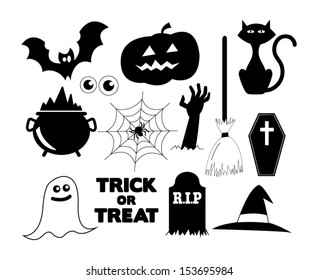 Illustrated Halloween icons in black and white
