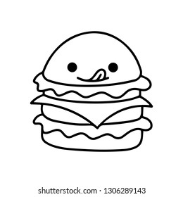 Illustrated Hamburger Yummy. Fast Food, Junk Food, Street Food with cute kawaii face expressions. Handmade in doodle style - Vector EPS