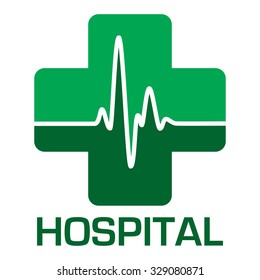 Illustrated hospital icon in green with heart beat