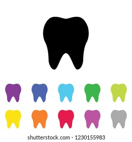 An Illustrated Icon in an array of colours on a White Background -  Tooth