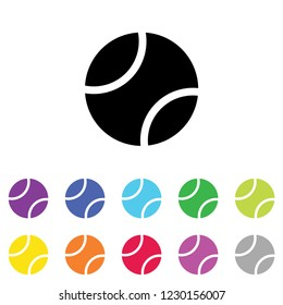 An Illustrated Icon in an array of colours on a White Background -  Tennis Ball