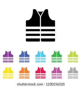 An Illustrated Icon in an array of colours on a White Background -  Safety Vest