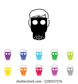An Illustrated Icon in an array of colours on a White Background -  Gas Mask