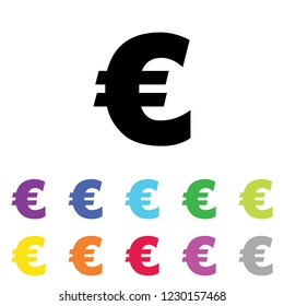 An Illustrated Icon in an array of colours on a White Background -  Euro Sign