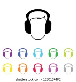 An Illustrated Icon in an array of colours on a White Background -  Ear Defenders Protection