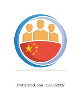Illustrated icon with the concept of the national community of Chinese