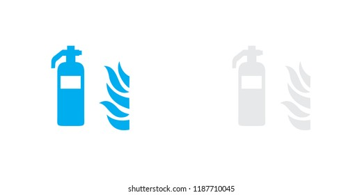 An Illustrated Icon Isolated on a Background - Fire Extinguisher with Fire