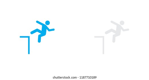 An Illustrated Icon Isolated on a Background - Danger of Falling