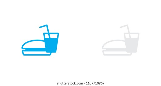 An Illustrated Icon Isolated on a Background - Burger and Drink