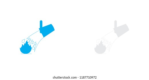 An Illustrated Icon Isolated on a Background - Bucket Water and Flame