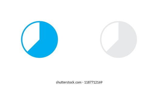 An Illustrated Icon Isolated on a Background - 62 Percent Pie Chart