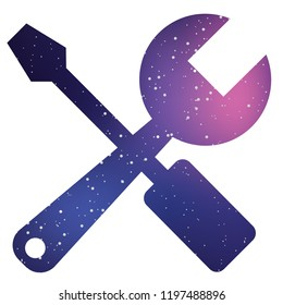 An Illustrated Icon Isolated on a Background - Spanner and Screwdriver